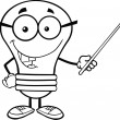Outlined Light Bulb Character With Glasses Holding Pointer — Stock Photo #29435559