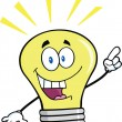 Stock Photo: Light Bulb Cartoon Character With Bright Idea