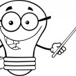 Outlined Light Bulb Character With Glasses Holding A Pointer — Stock Photo