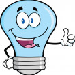 Blue Light Bulb Cartoon Character Giving A Thumb Up — Stock Photo
