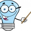 Blue Light Bulb Character With Glasses Holding Pointer — Stock Photo #29435873