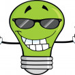 Green Light Bulb With Sunglasses Giving Double Thumbs Up — Stock Photo #29435877