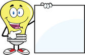 Light Bulb Cartoon Character Showing A Blank Sign — Stock Photo