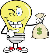 Light Bulb Cartoon Character Holding A Bag Of Money — Stock Photo