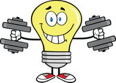 Smiling Light Bulb Character Training With Dumbbells — Stock Photo