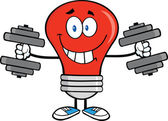 Smiling Red Light Bulb Character Training With Dumbbells — Stock Photo