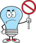 Angry Blue Light Bulb Character Holding up A Red Forbidden Sign — Stock Photo