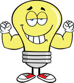 Light Bulb Cartoon Character With Muscle Arms — Stock Photo
