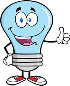 Blue Light Bulb Cartoon Character Giving A Thumb Up — Stock Photo
