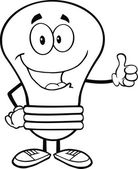 Outlined Blue Light Bulb Cartoon Character Giving A Thumb Up — Stock Photo