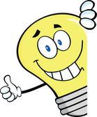 Souriant ampoule abandonner un pouce derrière un signe — Photo