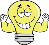 Light Bulb Cartoon Mascot Character With Muscle Arms — Stock Photo