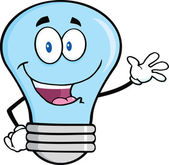 Blue Light Bulb Cartoon Character Waving For Greeting — Stock Photo