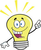 Light Bulb Cartoon Character With A Bright Idea — Stock Photo