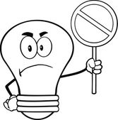 Outlined Angry Light Bulb Character Holding up A Red Forbidden Sign — Stock Photo