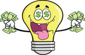 Money Loving Light Bulb Cartoon Character — Stock Photo