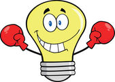 Smiling Light Bulb Character Wearing Boxing Gloves — Stock Photo