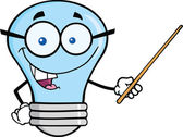 Blue Light Bulb Character With Glasses Holding A Pointer — Stock Photo