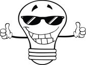 Outlined Light Bulb With Sunglasses Giving A Double Thumbs Up — Stock Photo