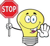 Light Bulb Character Holding A Stop Sign — Stock Photo