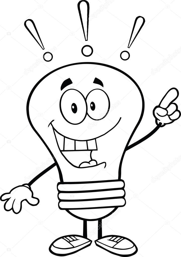 d crit le personnage d 39 ampoule avec une id e lumineuse. Black Bedroom Furniture Sets. Home Design Ideas