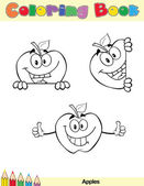 Coloring Book Page Apples Character 1 — Stock Photo