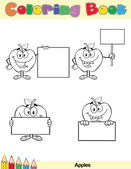 Coloring Book Page Apples Character 3 — Stock Photo