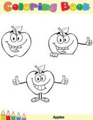 Coloring Book Page Apples Character 5 — ストック写真