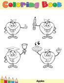 Colorare il carattere del libro pagina mele 4 — Foto Stock