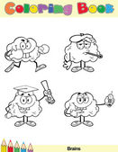 Coloring Book Page Brain Character 2 — Stock Photo