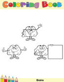 Coloring Book Page Brain Character 4 — Stock Photo