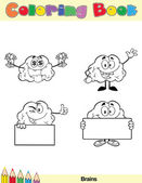 Coloring Book Page Brain Character 5 — Stock Photo