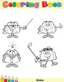 Coloring Book Page Brain Character 6 — Stock Photo