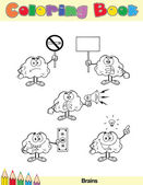 Coloring Book Page Brain Character 7 — Stock Photo