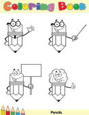 Coloring Book Page Pencil Character 3 — Stock Photo