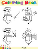Coloring Book Page Pencil Character 4 — Stock Photo