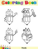 Coloring Book Page Pencil Character 5 — Stock Photo