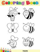 Coloring Book Page Insect Character — Stock Photo