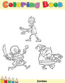 Coloring Book Page Zombie Character — Stock Photo