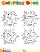 Coloring Book Page Sun Character 1 — Stock Photo
