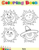 Coloring Book Page Sun Character 2 — Stock Photo