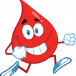 Red Blood Drop Character Running — Stock Photo #29692197