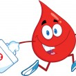 Red Blood Drop Character Running With A Medicine Bag — Stock Photo #29692237