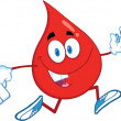 Red Blood Drop Character Running With A Syringe And Medicine Bag — Stock Photo