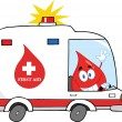 Red Blood Drop Character Driving Ambulance Car — Stock Photo #29692249