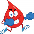 Red Blood Drop Character Running With Boxing Gloves — Stock Photo #29692287