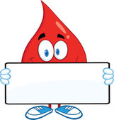 Red Blood Drop Cartoon Character Holding A Banner — Stock Photo