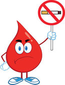 Angry Red Blood Drop Character Holding up A No Smoking Sign — Stock Photo