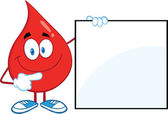 Red Blood Drop Character Showing A Blank Sign — Stock Photo