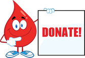Red Blood Drop Cartoon Character Showing A Blank Sign With Text — Stock Photo